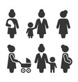 mother icons set on white background vector image