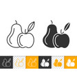 pear and apple fruit simple black line icon vector image vector image