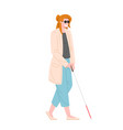 person with walking stick for blind vector image vector image