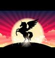 prancing unicorn colorful vector image