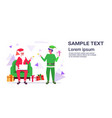 santa claus with male elf helper drinking tea vector image vector image