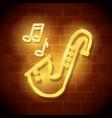 saxophone instrument neon label vector image