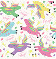 seamless pattern with magic flying unicorn vector image vector image