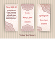 set of 3 beautiful vintage lace invitation cards vector image vector image