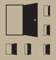 Set of black door icons vector image