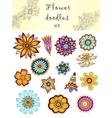 Set of doodle flowers 1 Ornamental Flowers vector image