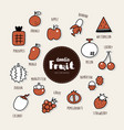 set of fruit icons doodle vector image