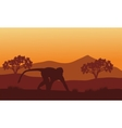 Silhouette of monkey in hills vector image vector image
