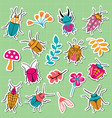small funny bugs sticker collection vector image vector image