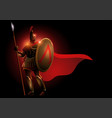 spartan warrior wearing helmet and red cloak vector image
