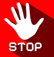 Stop Palm Hand Flat Design Symbol on Red vector image vector image