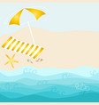 summer card design with parasol towel starfish vector image