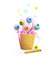 sweet monster in waffle cup kids funny creature vector image vector image