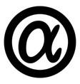 symbol alpha icon black color simple image vector image vector image