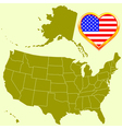 USA map and heart vector image vector image