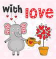 valentine elephant and tree out of hearts vector image vector image