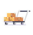 warehouse cart cart with delivery boxes vector image vector image
