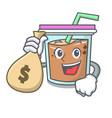 with money bag bubble tea character cartoon vector image vector image