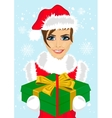 woman in christmas santa hat holding gift box vector image vector image