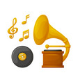 wooden gramophone plate and golden music vector image vector image