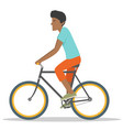 young african american ride asport bike vector image