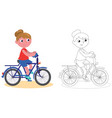 young biker girl isolated and coloring vector image vector image