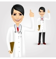 female doctor with folder pointing up vector image