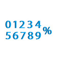 3d number with percent font number vector image