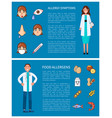 allergy symptoms and food allergens posters vector image
