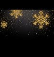 background with golden glittering snowflakes vector image vector image