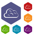 big cloud icons set hexagon vector image vector image