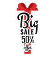 big sale 50 offer red ribbon background im vector image vector image