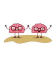 cartoon brains couple and both with glasses and vector image vector image