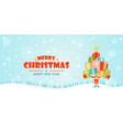 christmas banner santa claus holds gift boxes vector image