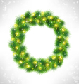 christmas wreath with yellow glassy led vector image