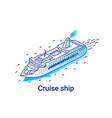 cruise ship isometric linear vector image