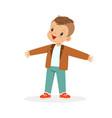 cute happy little boy cartoon vector image vector image
