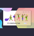 cute playful christmas elves website landing page vector image vector image