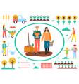 farming man and woman harvesting farmers vector image vector image