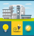 Flat concept related with power plant bulb vector image
