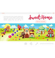 flat sweet village web page template vector image