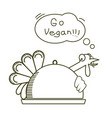 go vegan thanksgiving turkey bird vector image vector image