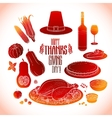 Graphic Thanksgiving day collection vector image vector image