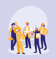 group of builders avatar character vector image vector image