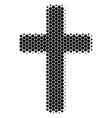 halftone dot religious cross icon vector image vector image