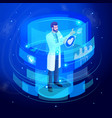 isometric doctor works on a virtual screen vector image vector image