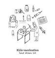 kids vaccination isolated hand drawn doodles vector image