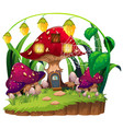 mushroom house in garden vector image vector image