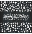 New year greeting cardIcons silhouetteChalkboard vector image vector image