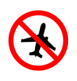 no flying on white backgroundprohibit sign vector image vector image